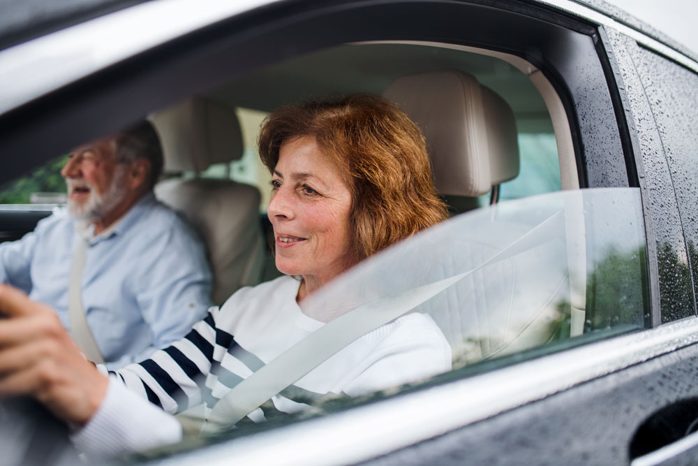 woman driving with clear vision
